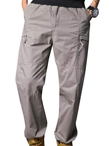 Fseason-Men Cargo Work Twill Fabric Sportstyle Washed Casual Pant Light Grey 4XL