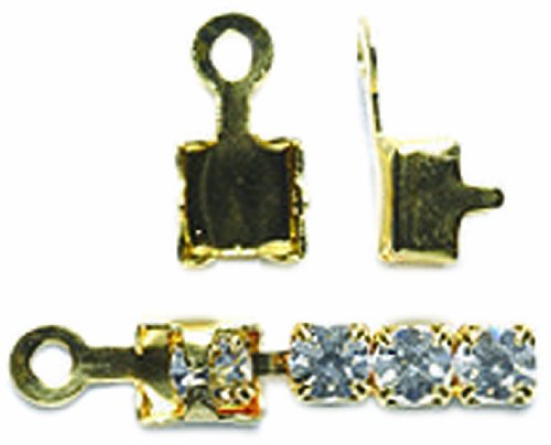 Shipwreck Beads 73FI136-GE Brass End Finding with Loop, Metallic, Gold, 75-Pack - Rhinestone Connector Beads Loop