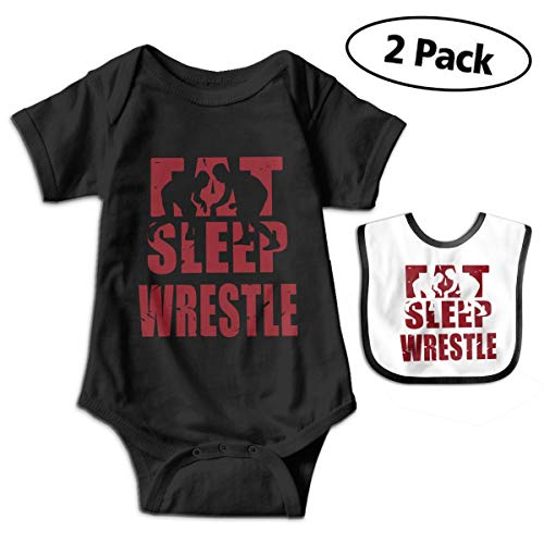 Distressed Eat Sleep Wrestle Wrestling Lover Newborn Baby Funny Cotton Bodysuits Rompers Outfits