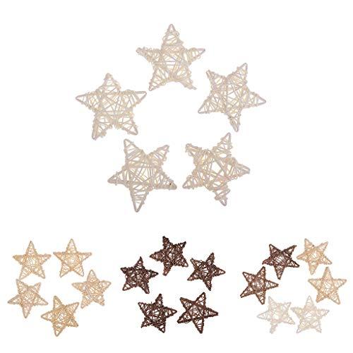 Blanco 5 Piezas F Fityle Ornamentos de Bola de Mimbre de Rota Natural deForma de Estrella