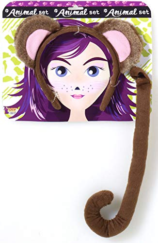 Monkey Tail And Ears Costume (Forum Novelties Women's Playful Animals Monkey Costume Accessory Set, Multi, One)