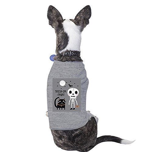 365 Printing Skeleton Grey Cat Shirt For Halloween Cute Graphic Small Pet -