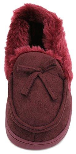 SlumberzzZ Ladies Faux Suede adornos de piel tipo mocasín Zapatillas Red