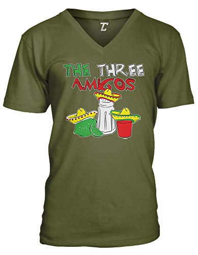 The Three Amigos - Cinco De Mayo Tequila Unisex V-Neck T-Shirt (Olive, Medium)