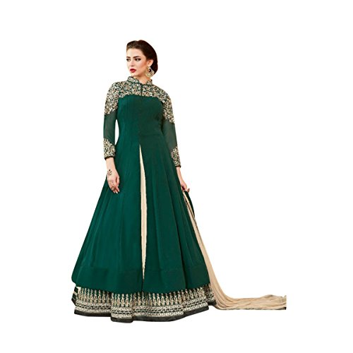 Dark Green Color Anarkali Salwar Kameez Bollywood Diwali Festive Kaftan Gown Long Wedding Formal Party Wear Muslim Women Ceremony By Ethnic Emporium 525 by ETHNIC EMPORIUM
