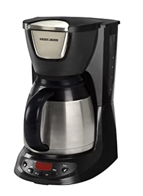 Black & Decker DE790B 8-Cup Thermal Carafe Coffeemaker, Black with stainless carafe