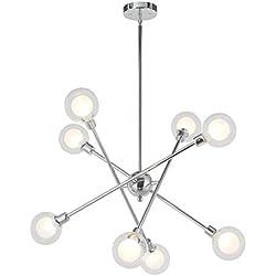 VINLUZ Sputnik Chandelier Lighting 8 Light Modern Pendant Lighting Mid-Century Ceiling Light for Dining Room Bed Room Kitchen Room Chrome Finish 8 Bulbs Included