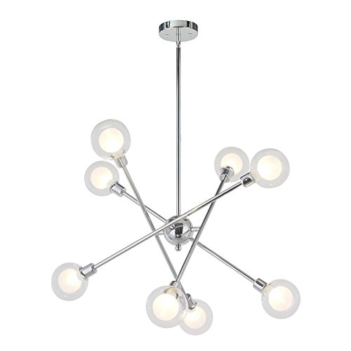 VINLUZ Sputnik Chandelier Lighting 8 Light Modern Pendant Lighting Mid-Century Ceiling Light for Dining Room Bed Room Kitchen Room Chrome Finish 8 Bulbs Included