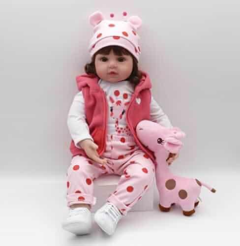 Pinky 18Inch 45cm Lifelike Reborn Baby Girl Dolls Soft Silicone Babies  Realistic Looking Newborn Baby Dolls 2b1925223b3b