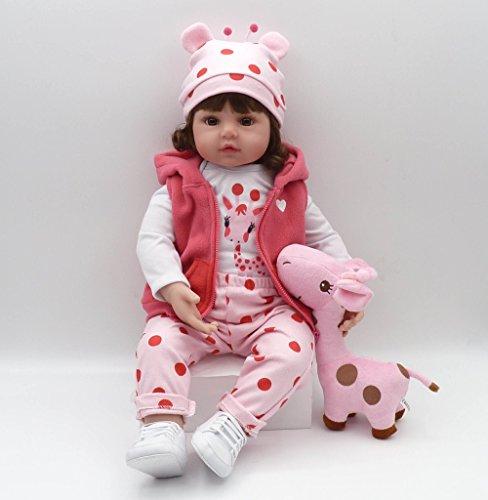 45cm Dolls - Pinky 18Inch 45cm Lifelike Reborn Baby Girl Dolls Soft Silicone Babies Realistic Looking Newborn Baby Dolls Cute Reborn Doll Toddler Handmade Child Birthday And Xmas Gift
