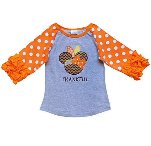 So Sydney New Toddler & Girl Fall & Winter Holiday Sparkle Ruffle Raglan T-Shirt (S (3T), Thankful Mouse)