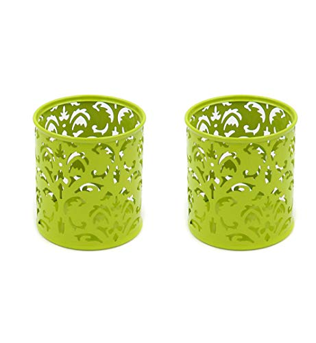 Set of 2,Pen/Pencil Holder, Make-up Brush Holder, Steel Mesh, Floral Pen/Pencil Holder, Perfect for Stationary Makeup Organizer Holder for Office, School, Home- by HK Creations (Green/Lime)