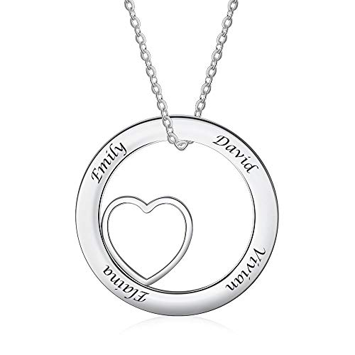 - Custom Name Bar Necklace Personalized Love Heart Pendant Engraved Mothers Charm Necklace Friendship Gifts for Women