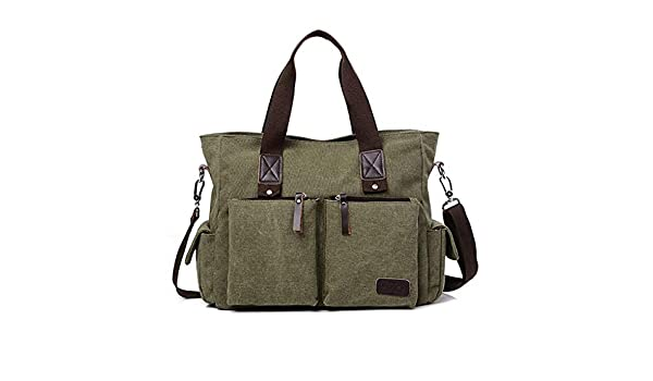 Amazon.com: QASEW Bolso de lona de Cuero para Hombre, de ...