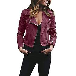Womens Ladies Retro Rivet Zipper Up Bomber Jacket Casual Coat Outwear