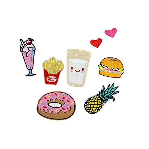 (Hwafan Cute Cartoon Mix Food Vegetable Plant Sew On Iron On Badge Embroidered Motif DIY Decoration Applique for Jeans Clothing Heart)