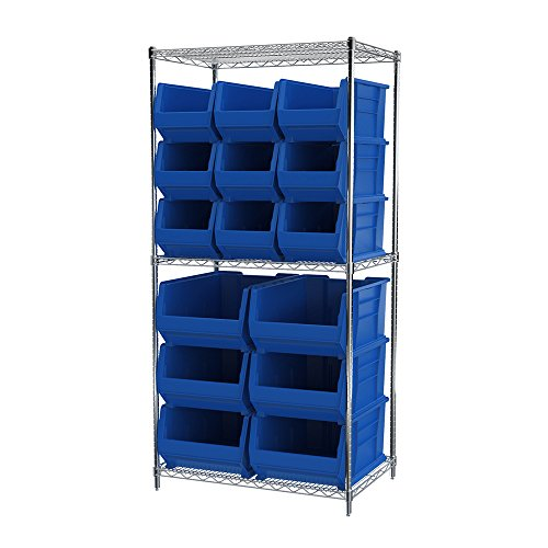 Akro-Mils 3 Shelves Wire Shelving Bin Rack Storage Unit with 18 Super-Size Akrobins 24