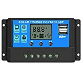 Solar Charger Controller 40A, Solar Panel Battery Regulator 12V/24V Auto Paremeter Adjustable LCD Display with Dual USB Load Timer Setting ON/Off Hours