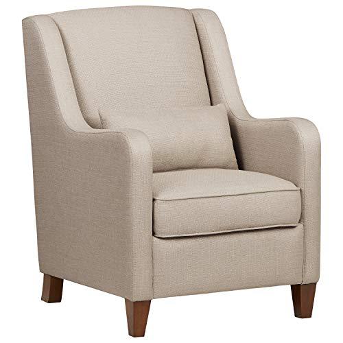 Ravenna Home Radford Modern Curved Accent Chair, 28.15 W, Beige