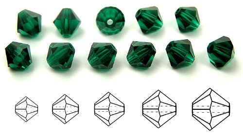 8mm Emerald, Czech MC Rondell Bead (Bicone, Diamond Shape), 1/2 gross =72 pieces