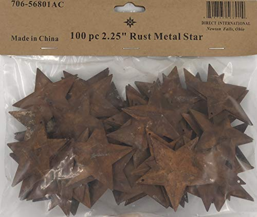 Primitive Christmas Decor - Group of 100 Rusted Metal Stars with Hole for Decorating and Finishing
