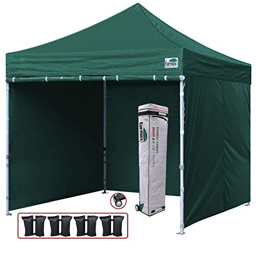 Eurmax 10'x10' Ez Pop-up Canopy Tent Commercial Instant Canopies with 4 Removable Zipper End Side Walls and Carry Bag, Bonus 4 SandBags (Green Black)