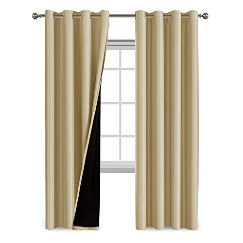 100% Blackout Curtains Extra Long 108 Inches Thermal Insulated Blackout Curtains for Patio Sliding Doors, Double Layer Lined Window Treatment Panels, 1 Pair, Wheat