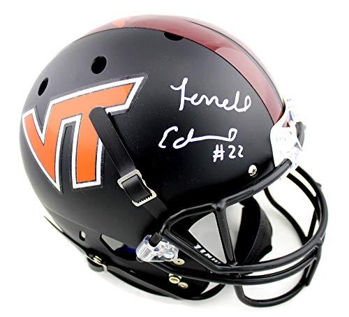 Terrell Edmunds Autographed/Signed Virginia Tech Hokies Schutt Full Size Black NCAA Helmet