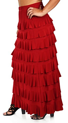 Dare2bStylish Women Waterfall 8 Tiered Boho Layered Maxi Skirt | Reg & Plus Sizes (Skirt Womens Polyester)