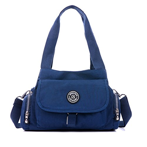Small Navy Color (Tiny Chou Pure Color Water Resistant Premium Nylon Tote Handbag Navy Blue Cross Body Shoulder Bag )