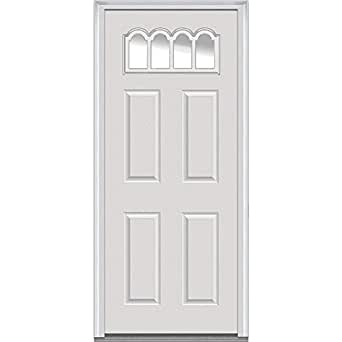 """National Door Company Z000719R Steel Primed, Right Hand In-swing, Prehung Front Door, Gothic 1/4 Lite 4-Panel, Clear Glass, 30"""" x 80"""""""