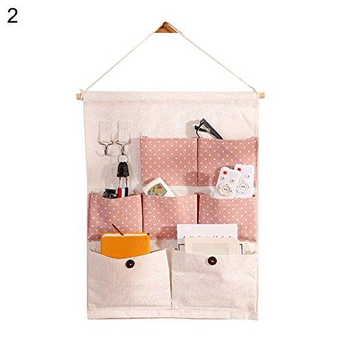 angel3292 Hot sale 7 Pockets Cute Flamingo Polka Dots Pattern Door Wall Hanging Storage Pouch Bag ()