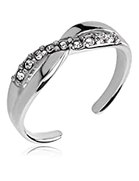 2heart 0.7 Cts Round Simulated Diamond Gemstones Adjustable Toe Ring 14K White Gold Fn