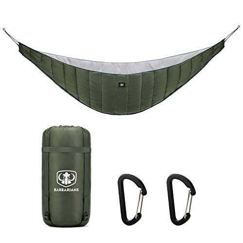 Barbarians Single Hammock Underquilt for Winter, Full Length Ultra-Light Under Quilt Blanket, Outdoor for Camping, Hiking Olive