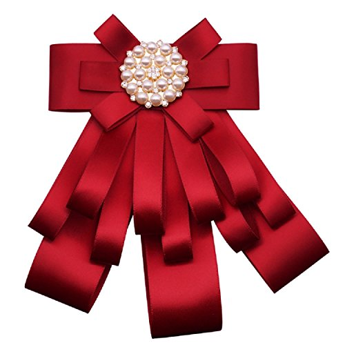 - Wcysin Rhinestone Pre-Tied Ribbon Bow Tie Brooch Pin Collar Bow for Women Girls (Red)