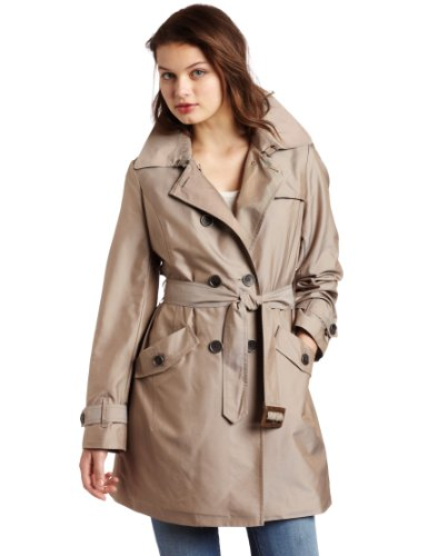 Ak Anne Klein Womens Double Breasted Basic Trench