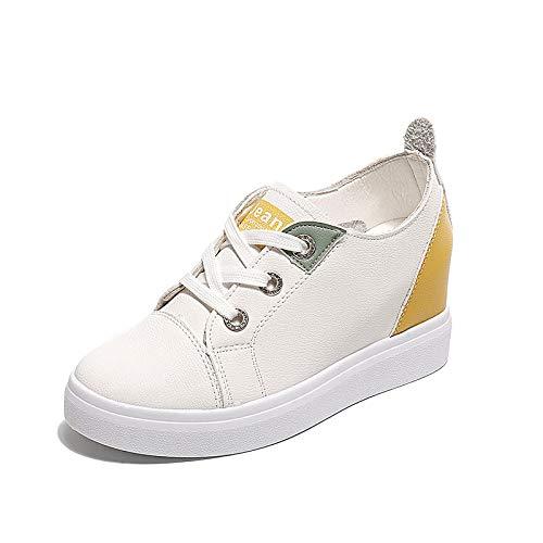 ZHZNVX Zapatos de Mujer PU (Poliuretano) Zapatillas de Deporte con caída en la caña Tacón de cuña Punta Redonda Blanco/Negro White
