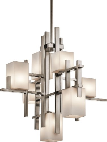 Lamps Plus Satin Chandelier (Kichler Lighting 42940CLP City Lights 7-Light Chandelier, Classic Pewter Finish with Satin Etched Cased Opal Glass)