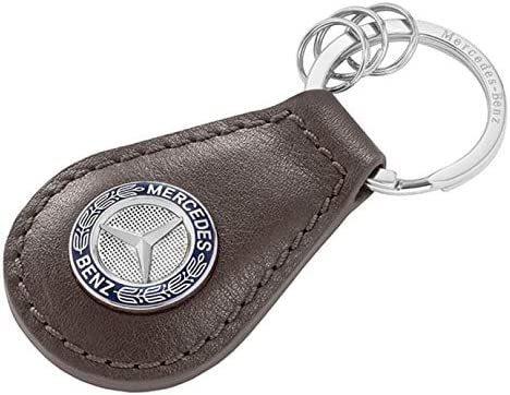 Mercedes Benz Schlüsselanhänger Classic Braun Blau Silber Rindleder Edelstahl Bekleidung