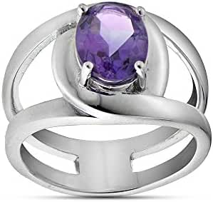 Sterling Silver African Amethyst Oval Open Ring