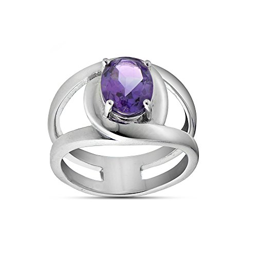 Amethyst Ladies Ring (Sterling Silver African Amethyst Oval Open Ring, Size 10)