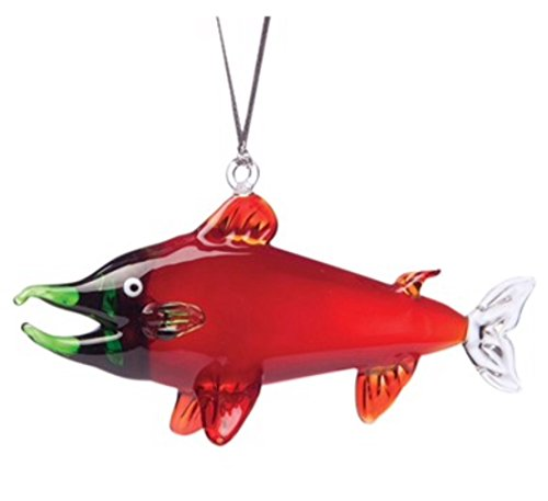 Glassdelights Red Salmon Glass Hanging Ornament