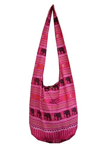 BTP! Elephant Parade Sling Crossbody Shoulder Bag Purse Hippie Hobo Thai Cotton Gypsy Bohemian Large (Pink NA4) by BenThai Products
