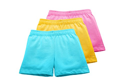 Zippered Uniform - Big Girls Comfortable Cotton Playground Shorts, 3-Pack Pink/Yellow/Aqua, Size 7