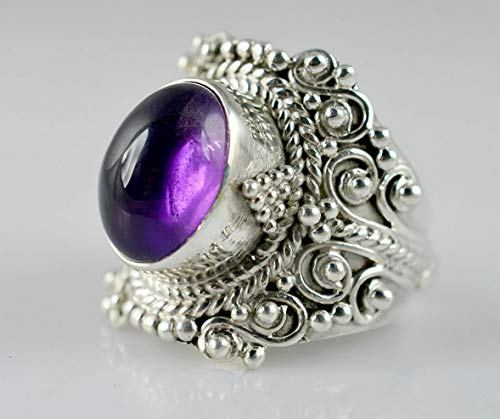 Tomikko Women Fashion 925 Silver Ring Amethyst Wedding Gift Evening Party Size 6-10   Model RNG - 13607   7
