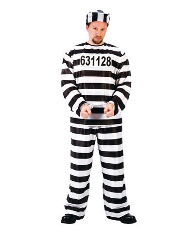 FunWorld Jailbird Or Prisoner, Black, One Size Costume