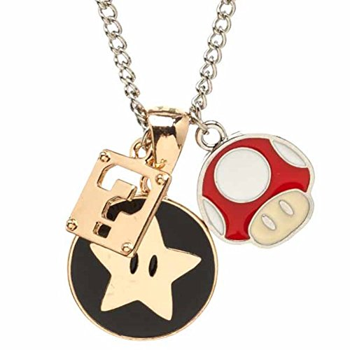 Official Super Mario Bros Star Mushroom Question Mark Box Charm Necklace Pendant