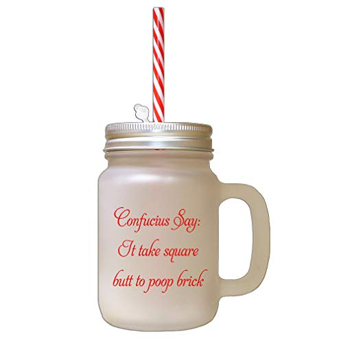 Red Takes Square Butt To Poop Bricks Frosted Glass Mason Jar With Straw