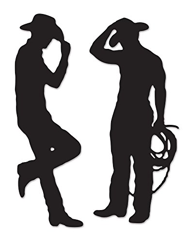 Western Cowboy Rodeo Silhouettes 2 pc Cardboard Cutout Birthday Dance Party De