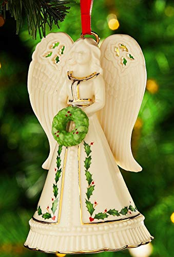 Lenox Holiday Angel Bell with Wreath Porcelain Ornament Holiday motif 24 k gold New in box
